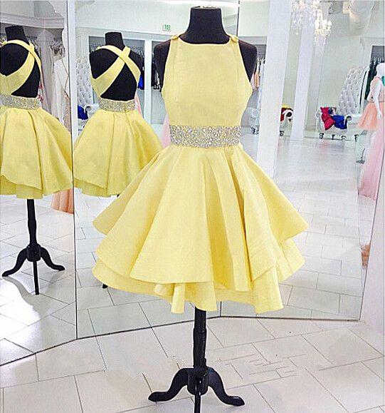 Short Yellow Cheap Prom Dressesbeaded 8th Grade Graduation