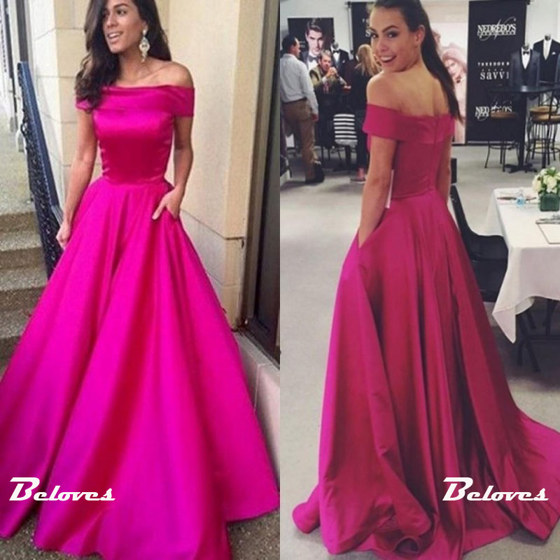 Fuchsia Off The Shoulder Satin A Line Prom Dress, Formal Gown With ...