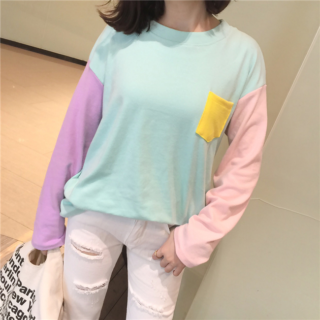Pastel color block long sleeve shirt · Pollyanna · Online Store ...