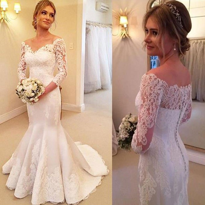3/4 Sleeves White Lace Long Mermaid Wedding Dresses,Lace Bridal ...