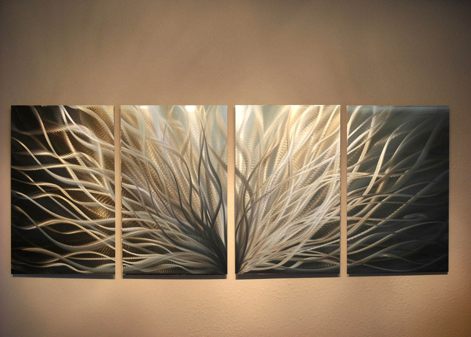 Abstract metal wall art radiance gold silver for Gold wall art