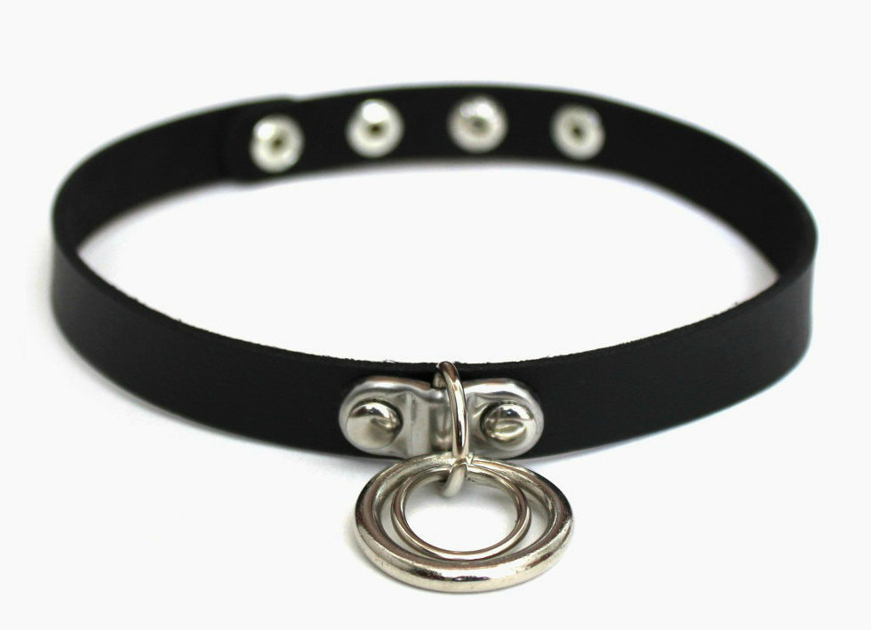 59ede2106 Unisex Hanging Double O-Ring Black Choker Necklace · Miami Mini Mall ...