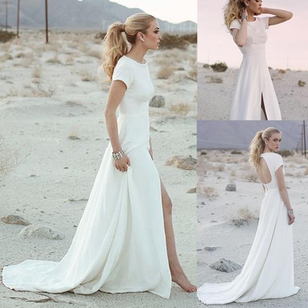 Off White Prom Dress Open Back Prom Dress Short Sleeve Prom Dress