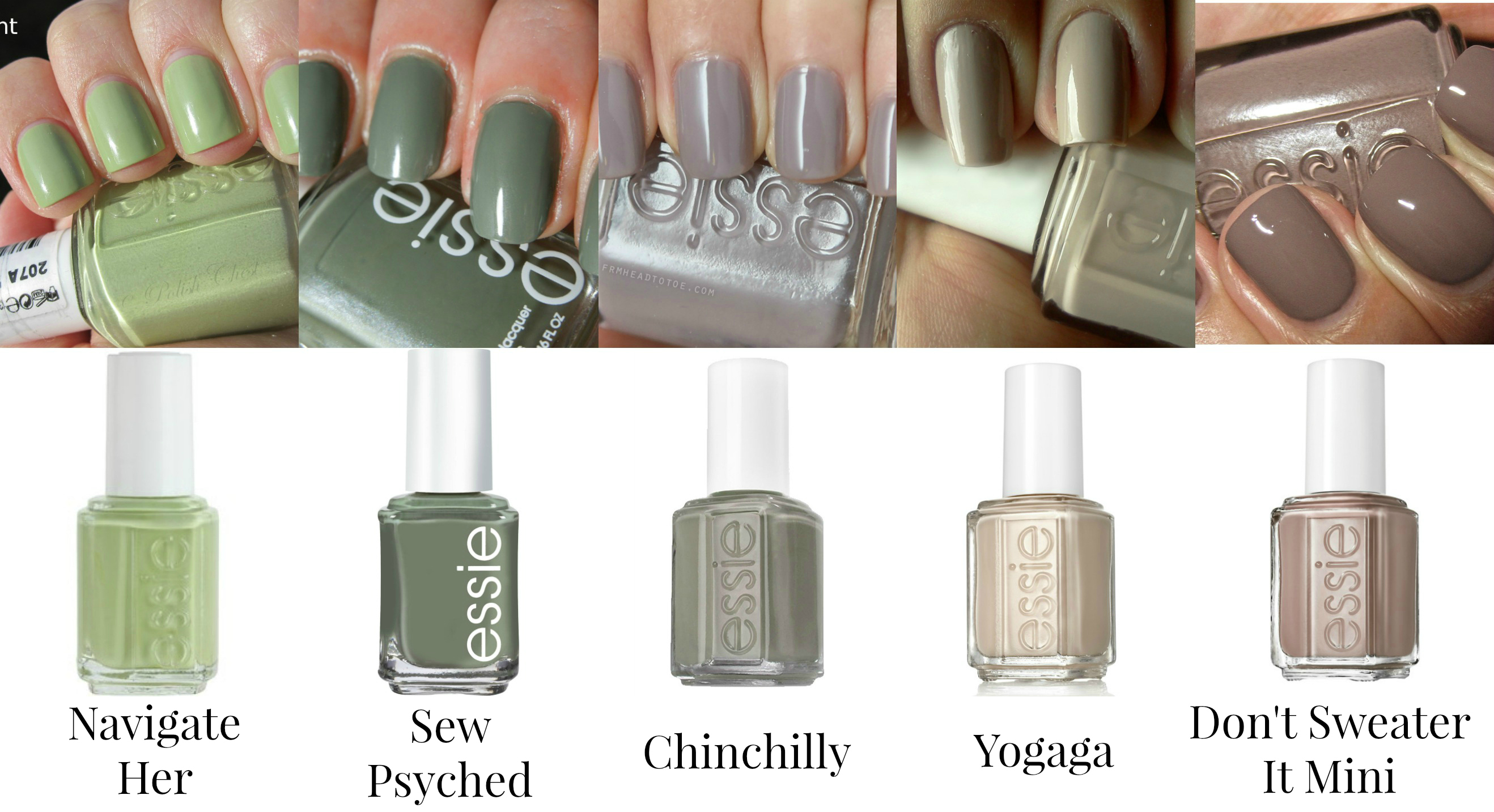 Essie Nail Polishes - Light Greens and Neutrals - Navigate Her, Sew ...