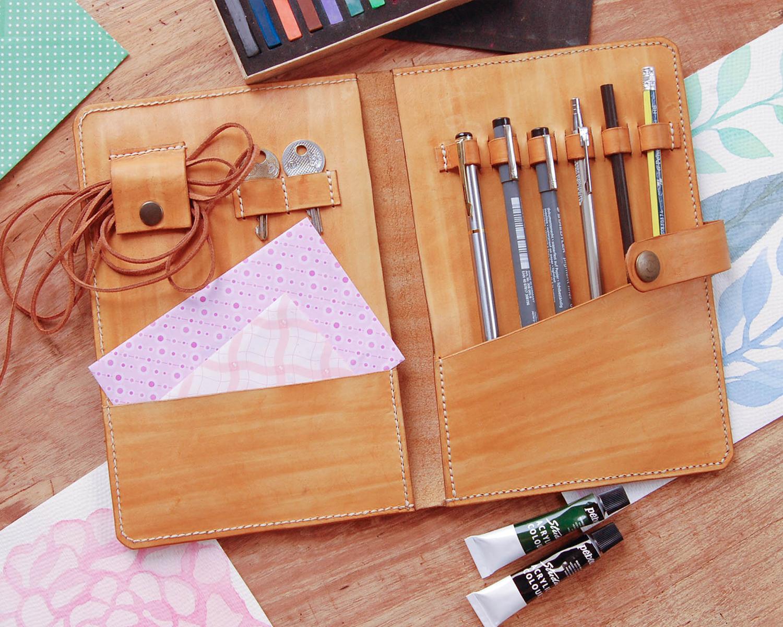 Leather portfolio case minimalist hand sewn travel for Minimal art journal