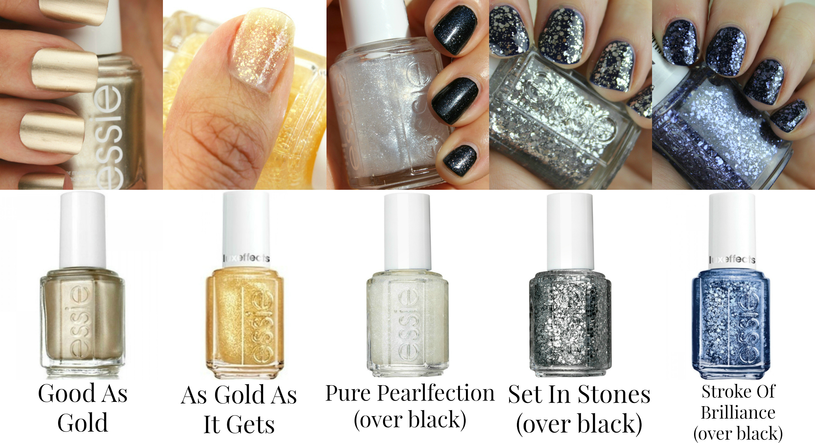 Essie Nail Polishes - Luxe Effects, Gold, Silver, Blue - Good As ...