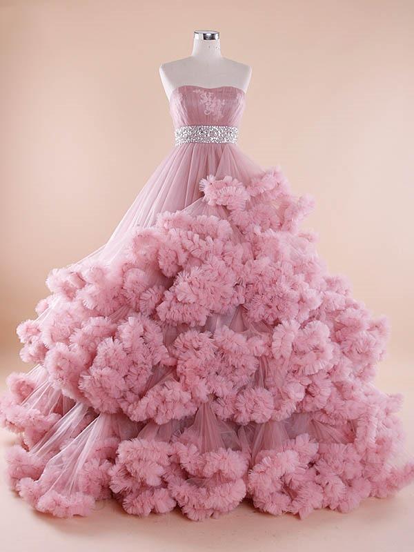 Pink Wedding Dress Ball Gown Sweetheart Tulle Long Wedding Dresses ...