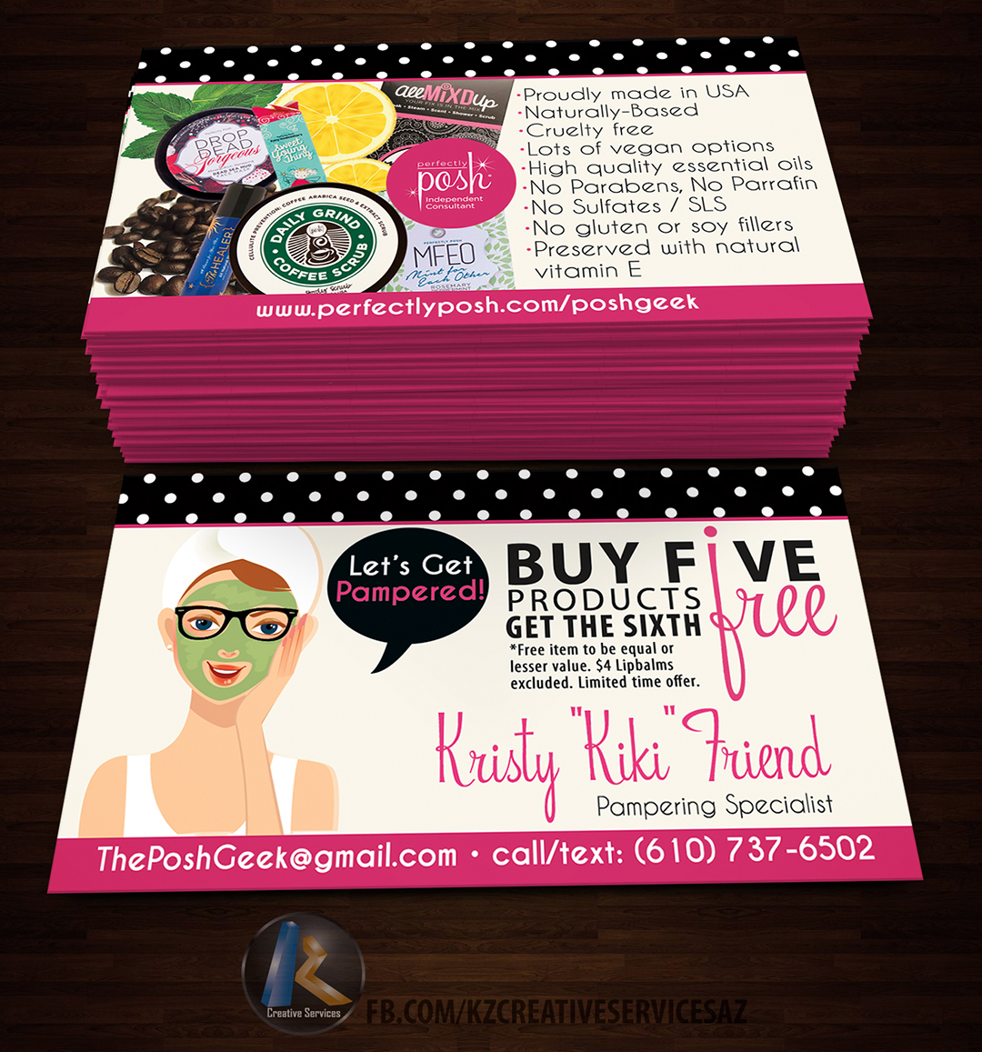 Perfectly Posh Business Cards 8 Kz Creative Services Online