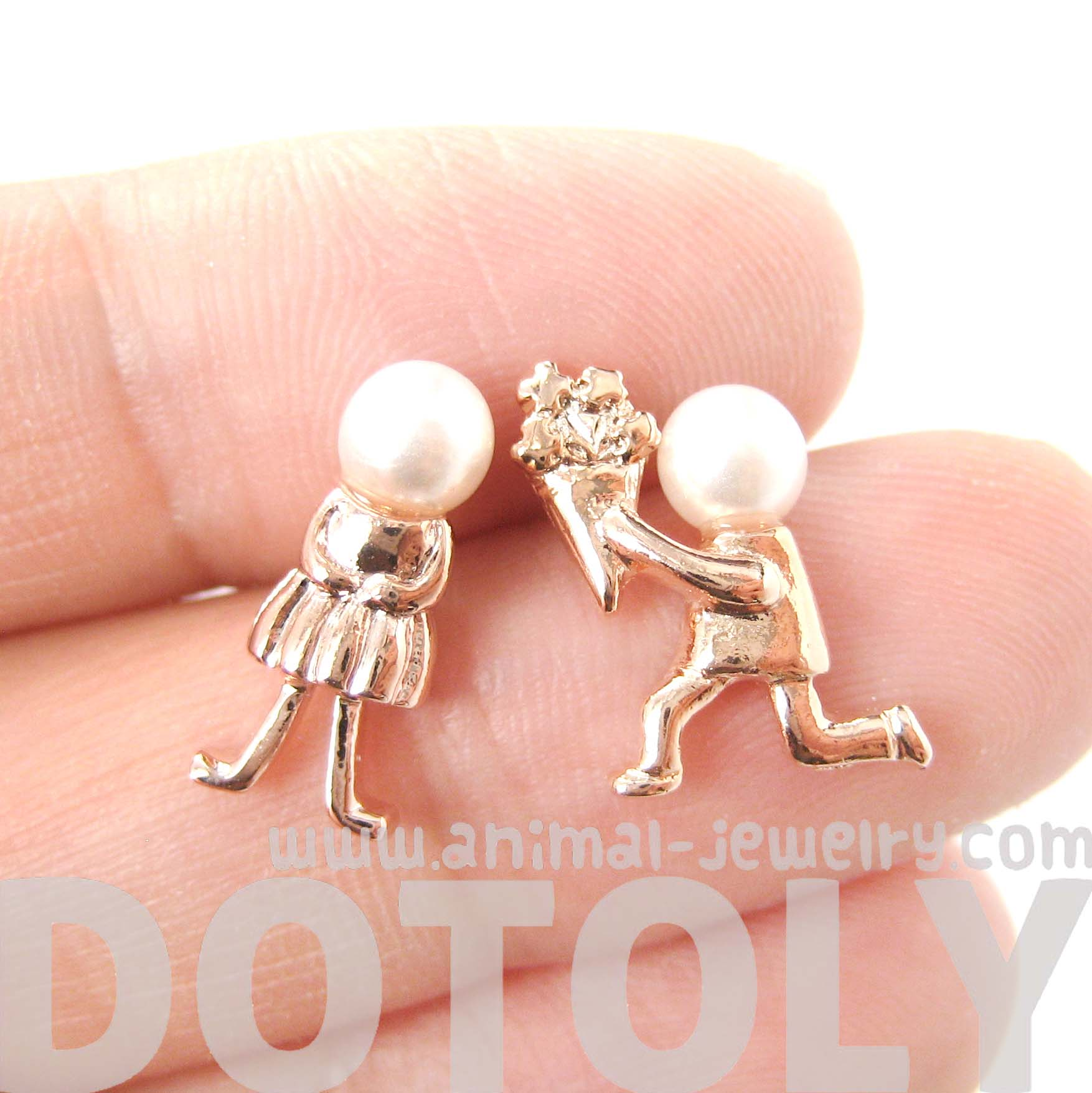 Boy And Girl Proposal Stud Earrings In Rose Gold With Pearl Details   Thumbnail 1