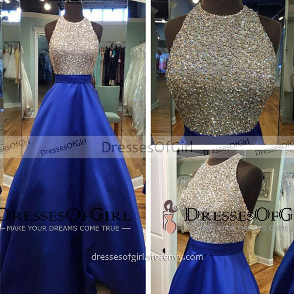 Sparkling Crystal Beaded Halter Top Tulle Prom Dress, Backless Royal ...