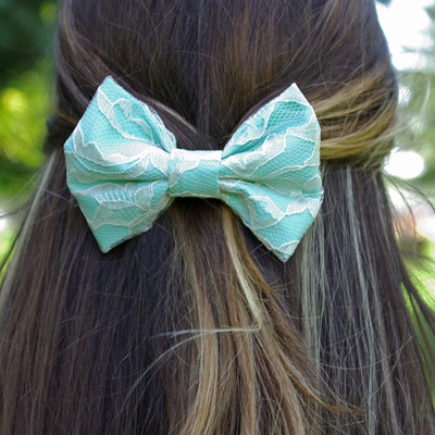 Fabric lace hair bow