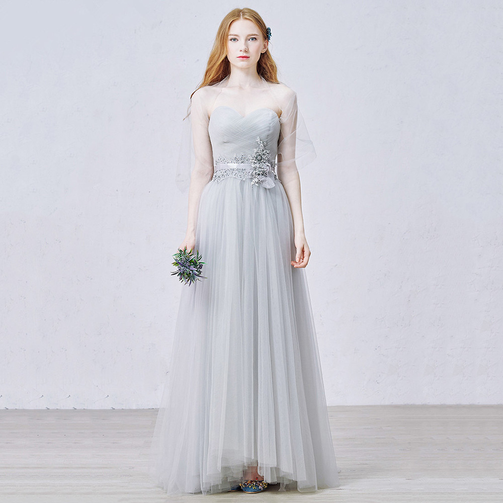 Sweetheart Light Grey Prom Dress with Tulle Shawl, Princess Long ...