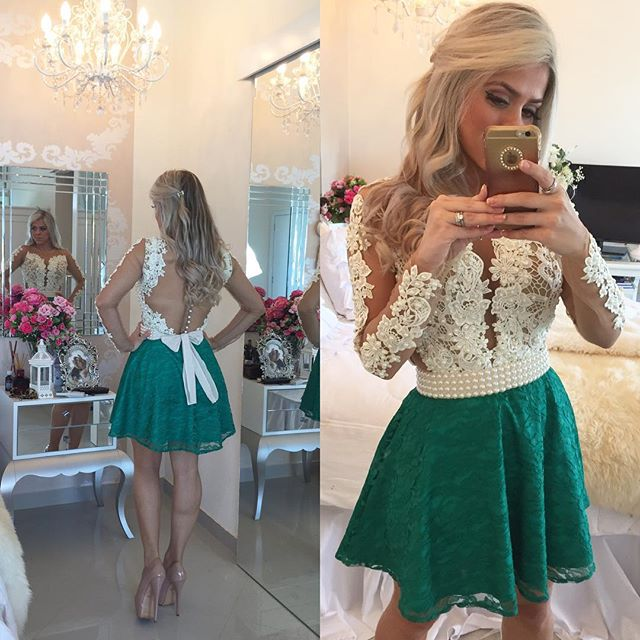 Illusion Deep V Neck Green Short Prom Dress, White Lace Tulle Long Sleeved  Prom Dress