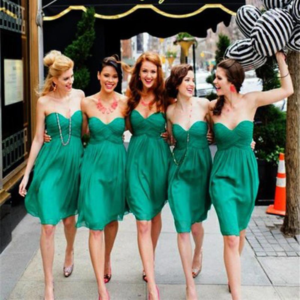 Green bridesmaid dresses, short bridesmaid dresses, sweet heart ...