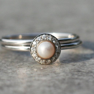halo engagement ring pearl engagement ring white pearl engagement ring with diamonds in 14k - Pearl Wedding Ring Sets