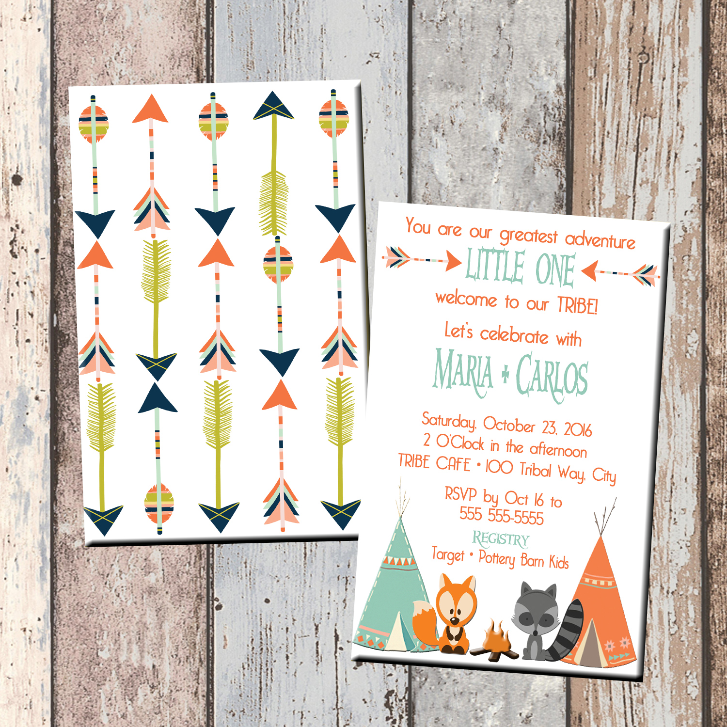 Our TRIBE Woodland Baby Shower Invitation 2 Sided · SCG Designs ·