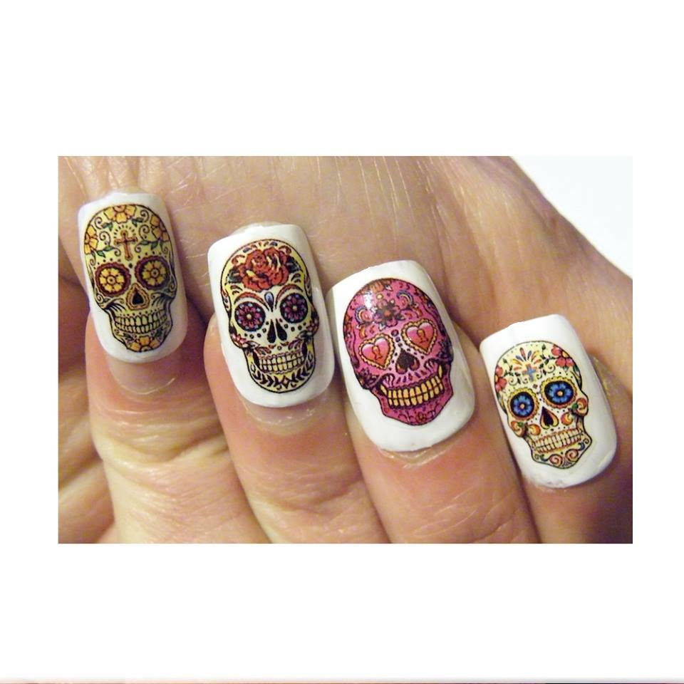 Sugar Skull Nails Decal Nail Art Manicure Day of the Dead Skull ...