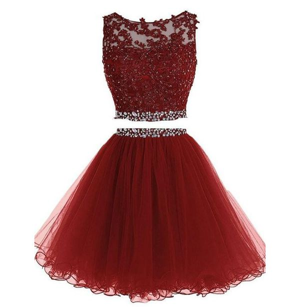 Cute maroon two pieces lace beading short prom dress,homecoming ...