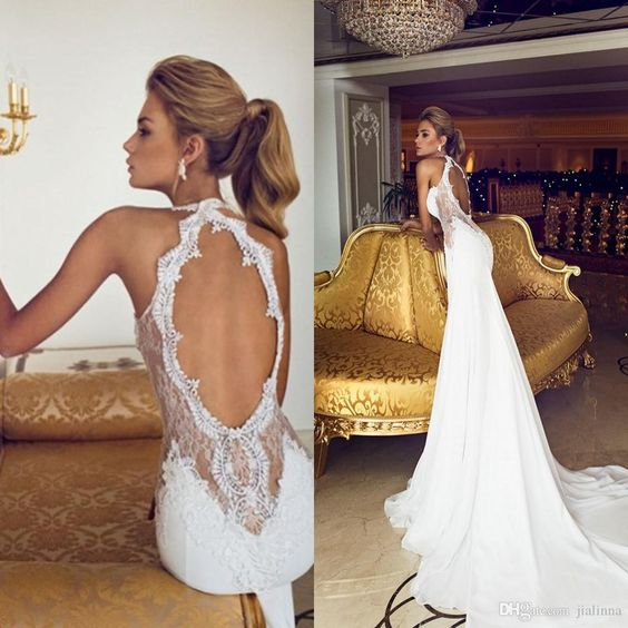 A271 Halter Open Back Chapel Train Long Chiffon Wedding Dresses ...