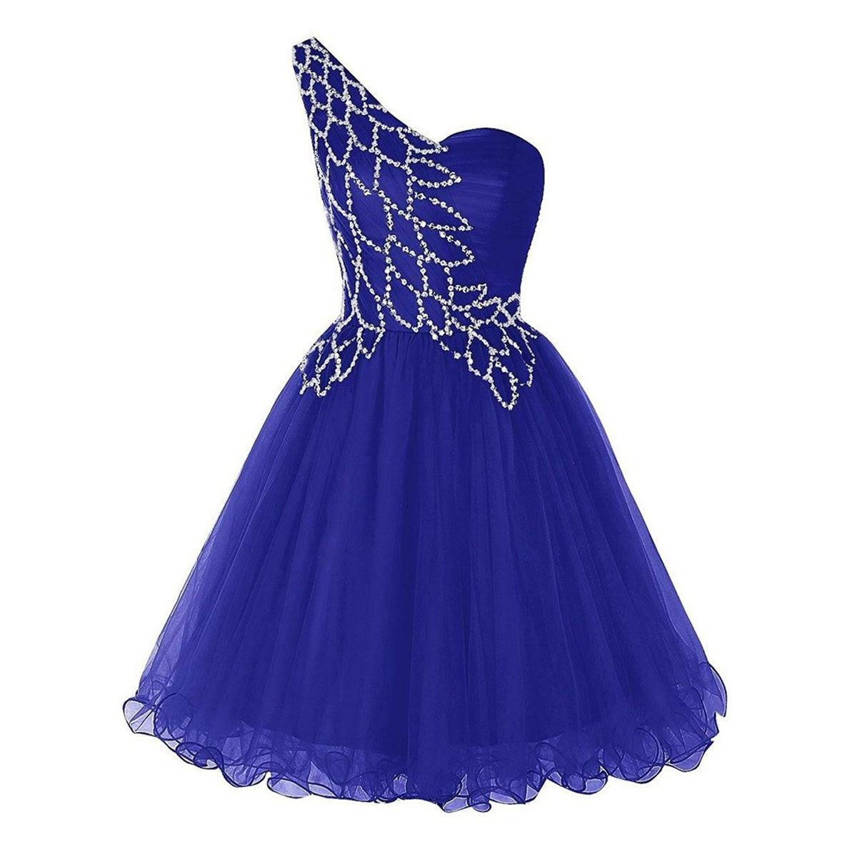 Unique Style One Shoulder A-line Prom Dress, Pretty Sequins Royal ...