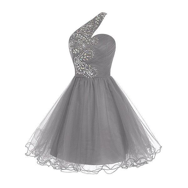 Flower Beaded One Shoulder Ruched Prom Dress, Light Grey Lace-up ...