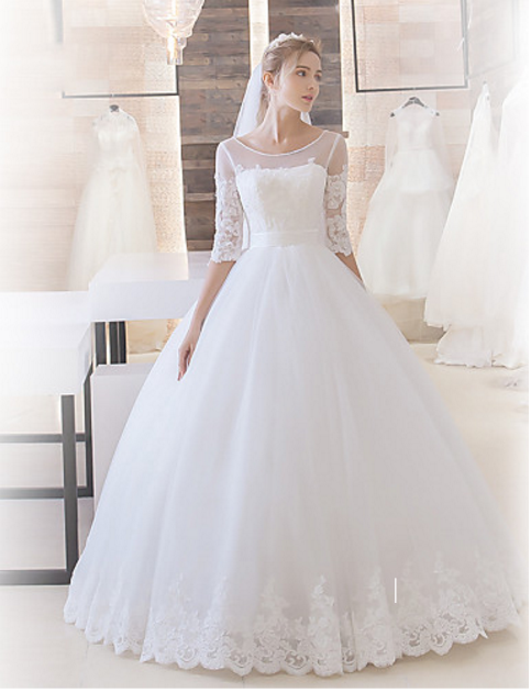 Organza Ball Gown Wedding Dress Keyhole Back Lace Up Back Lace Sleeves
