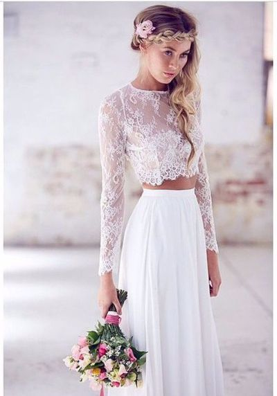 Long sleeve wedding dressbeach two piece lace wedding dresssexy a long sleeve wedding dressbeach two piece lace wedding dresssexy a line white junglespirit Images