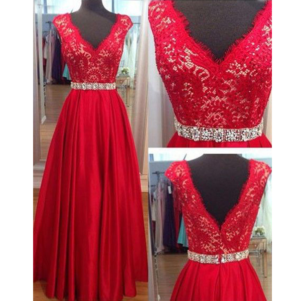 V Neck Cap Sleeve Prom Dress Long Inexpensive Lace Top Prom Dress