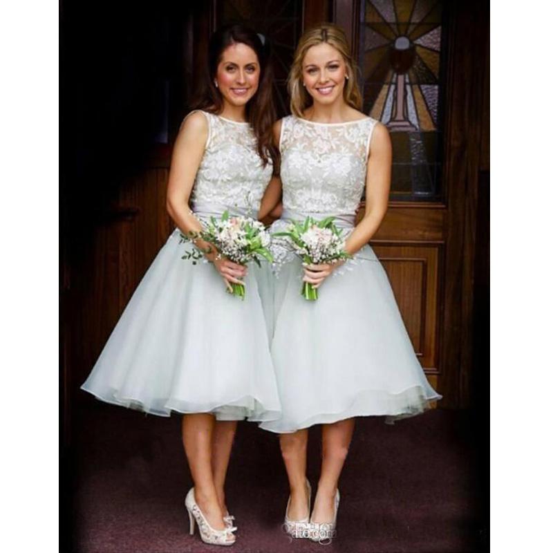 Popular Junior Wedding Party Dresses Silver Organza Bridesmaid