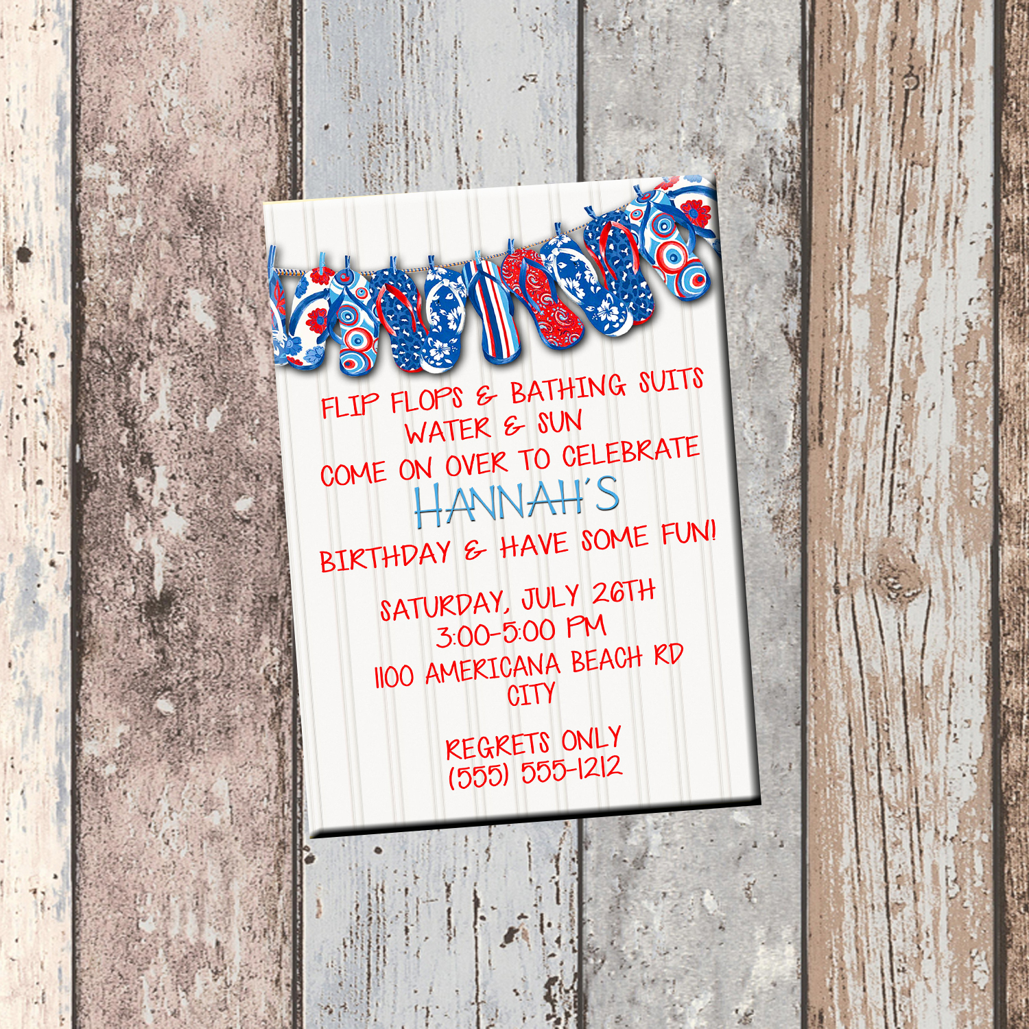 red white blue flip flop personalized birthday invitation 1 sided