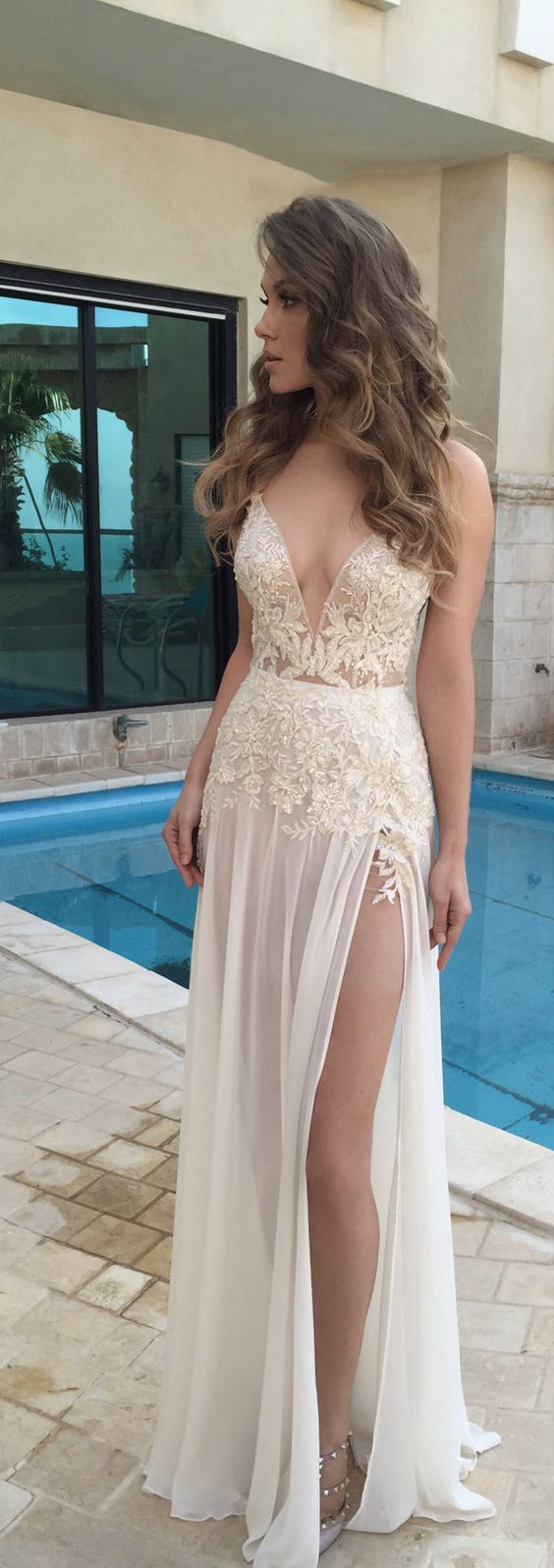 2017 Custom Made Charming White Lace Beaded Prom Dress,Spaghetti ...