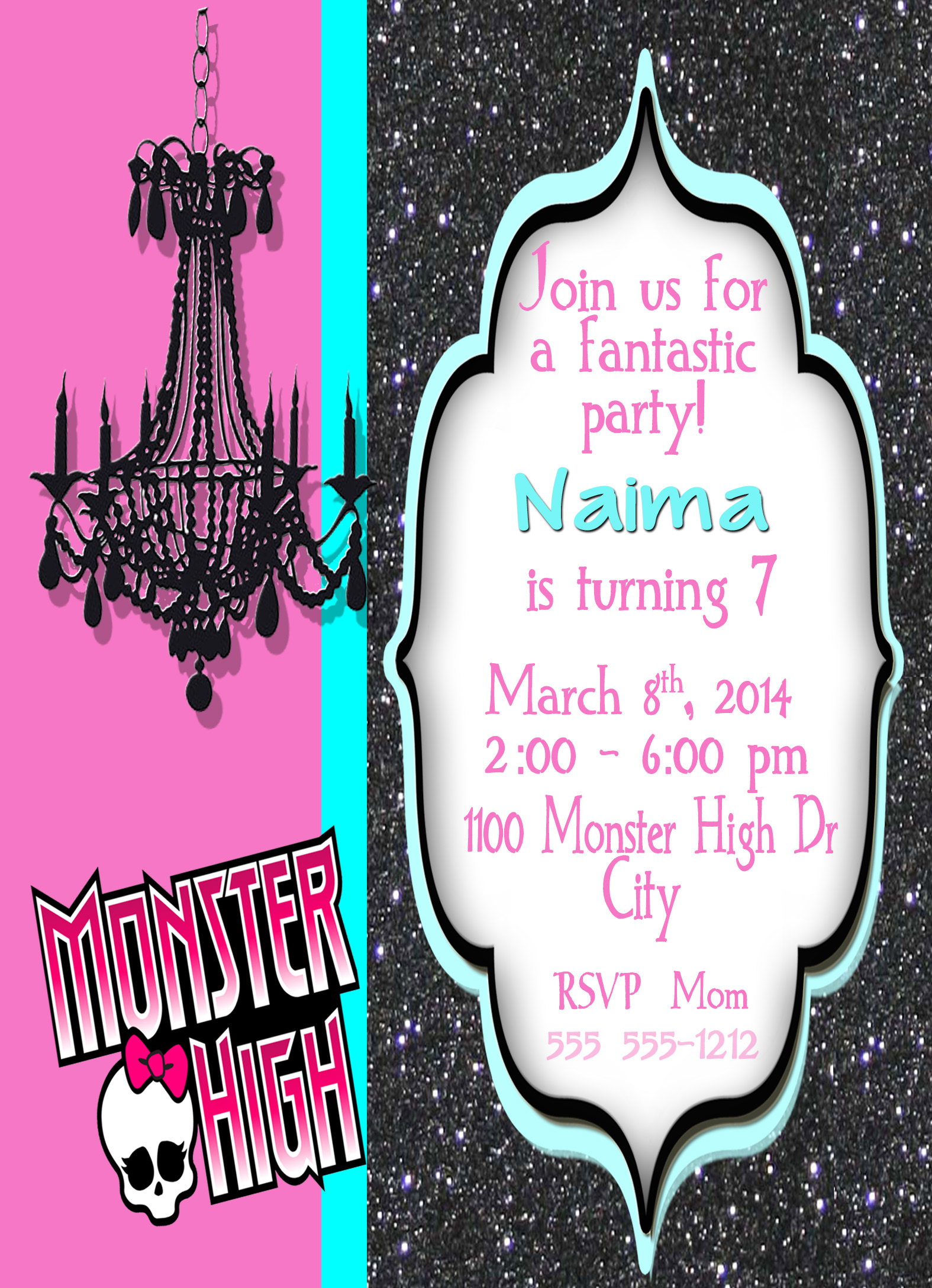 Monster High Personalized Birthday Invitation 2 Sided, Birthday Card ...
