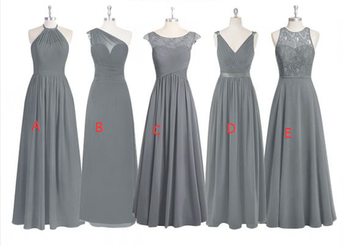 Grey Lace Bridesmaid Dresses Mismatched Bridesmaid Dress Custom Long Bridesmaid