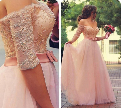 Long sleeve lace prom dress, pink prom dresses, long prom dresses ...