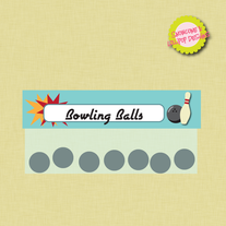 Bowling Party Treat Toppers - for Ziploc bags