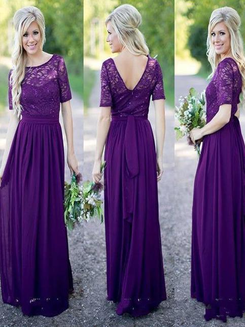 Purple lace bridesmaid dress half sleeve bridesmaid dress for Simple cream colored wedding dresses