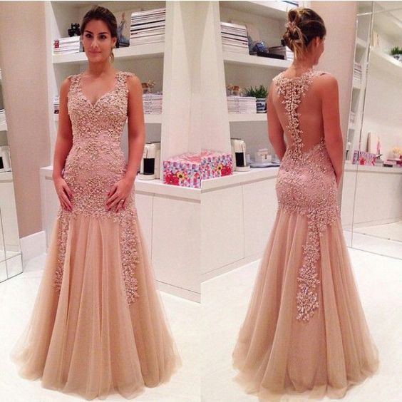 A397 Sleeve Charming Mermaid Lady Dresses, Pink Long Prom Gowns ...