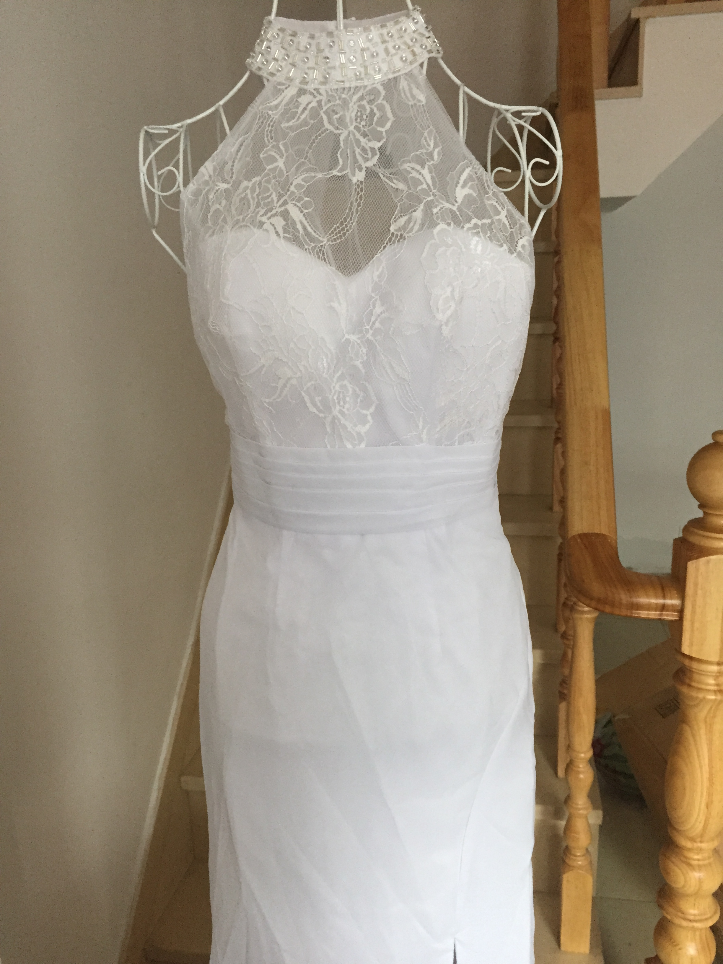 A399 Real Made Lace Top Wedding Dresses, Halter Side Slit Wedding ...