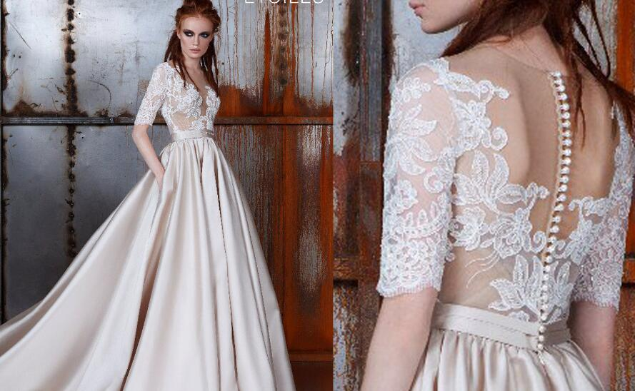 Gorgeous Half Sleeves A-line Long Light Champagne Prom Dress ...