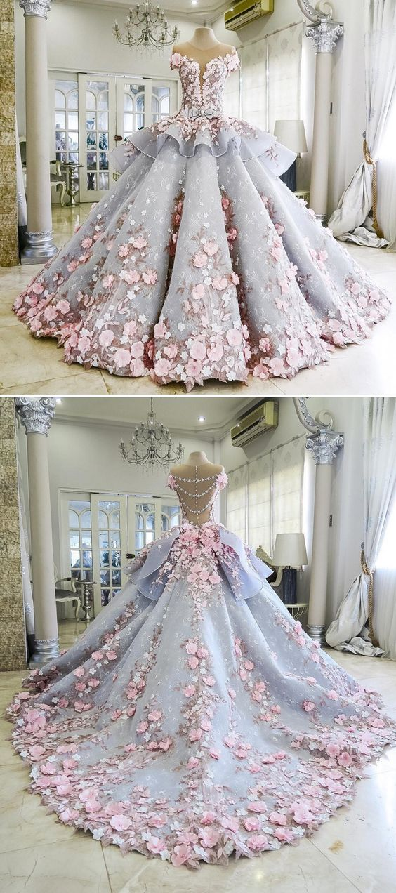 Pretty Quinceanera Dress Ball Gown Flowers Evening Dress Long ...