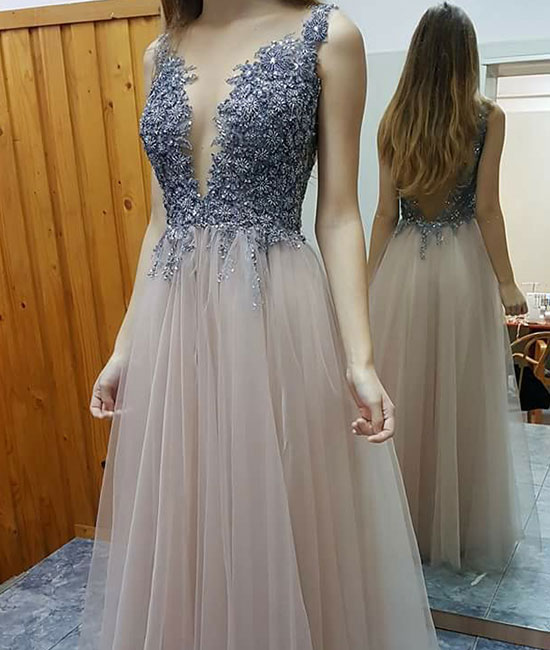Dress Day Champagne Tulle Long Prom Dresses Cute Formal Dress For
