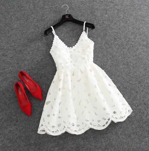 of girl | Cute white lace short prom dress, lace homecoming dress ...
