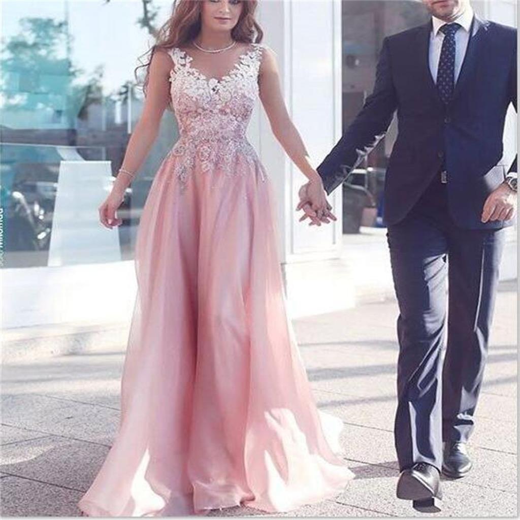Pink prom dress, v neck prom dress, formal prom dress, inexpensive ...