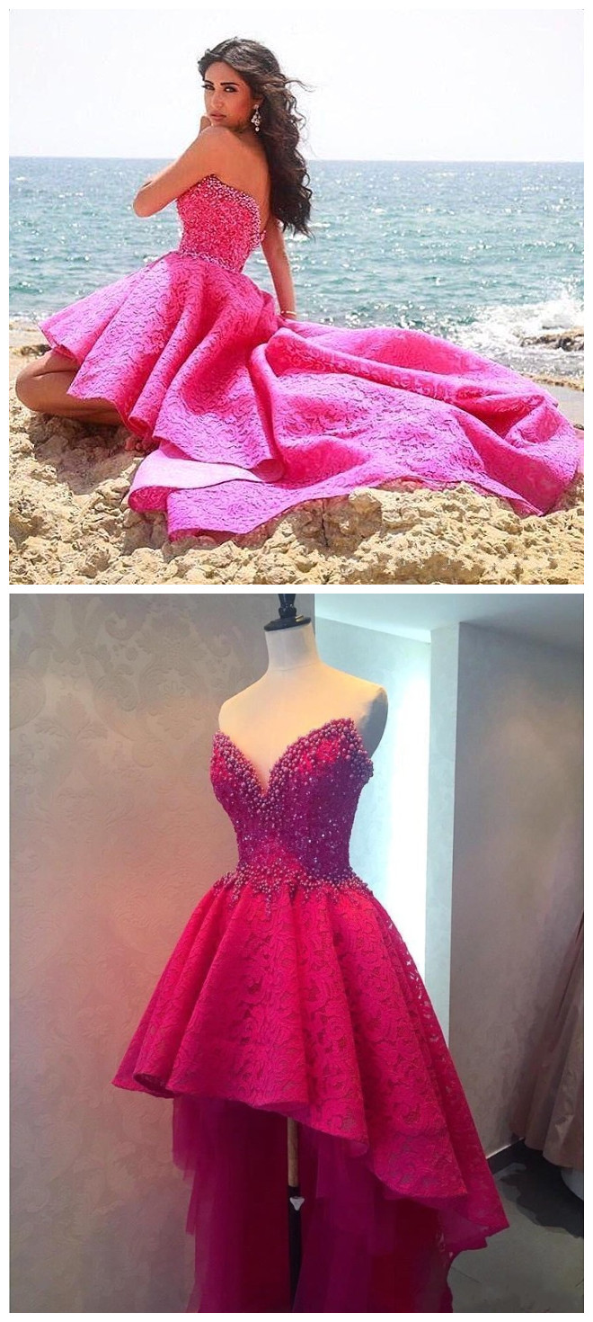 Sexy High Low Long Prom Dresses Beaded Lace Prom Dresses, Sweetheart ...