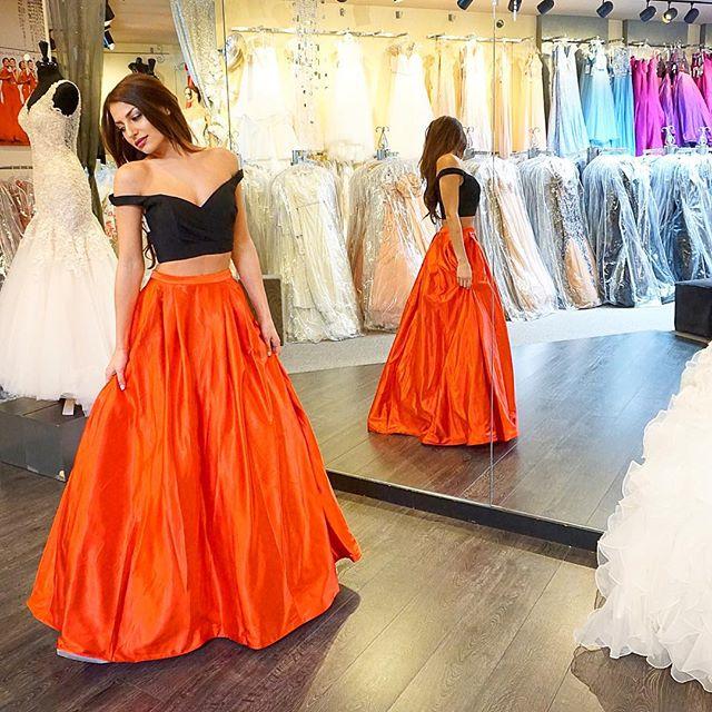 P147 Black And Orange Prom Dresses,Two Pieces Prom Dresses,Floor ...