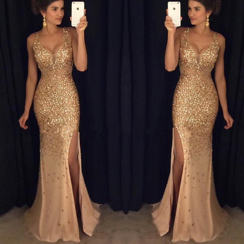 Gold Crystals Mermaid Prom Dresses,Deep V Neck Slit Prom Dresses,Off ...
