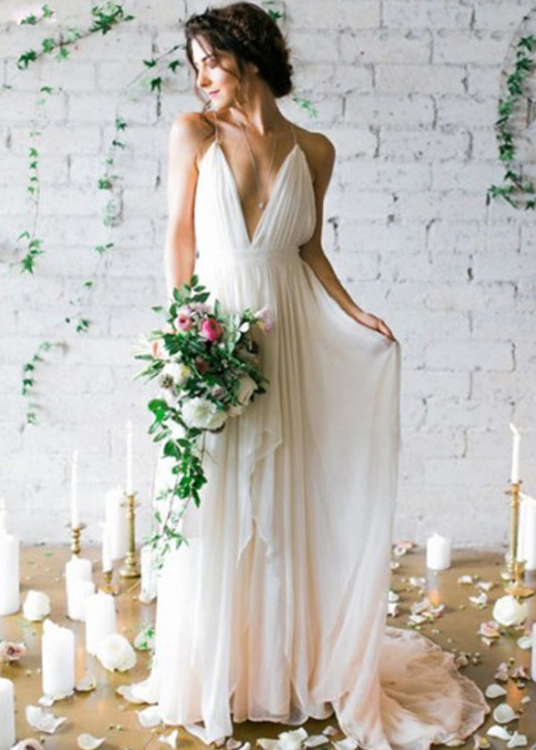 Whte v neck chiffon long prom dress white evening dress for Simple wedding dresses for small wedding