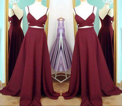 e46fa8856bf Burgundy 2 piece long prom dresses