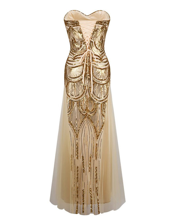 of girl | Unique gold sequin mermaid long prom dress, evening dress ...
