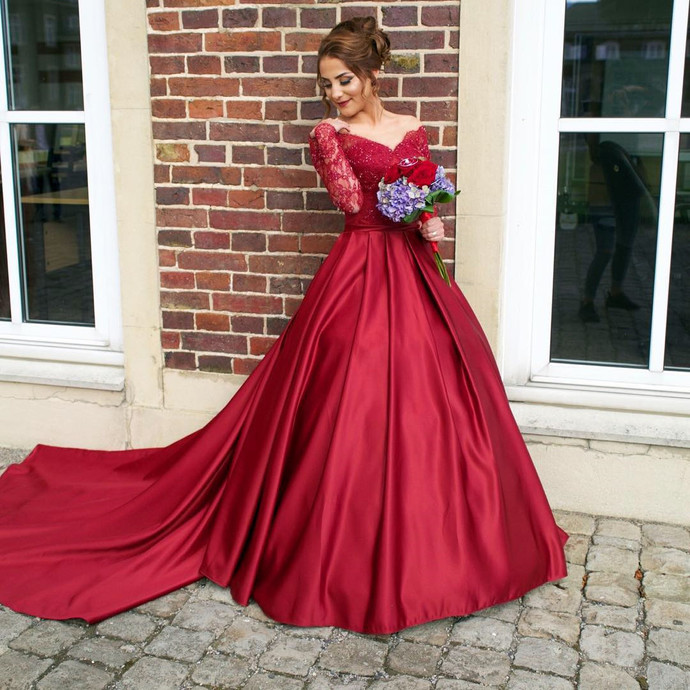 Red Long Sleeve Prom Dress,Ball Gown Prom Dresses,Charming Prom ...